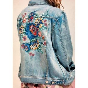 Embroidered denim jean jacket Sz S M L